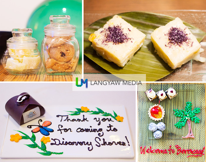 I really love the way Discovery Shores treat its guests. These small treats makes the difference. Small but meaningful details, clockwise from top right: one of the best maja blanca I've tasted, the welcome dessert tray with bite sized creations & sweet colored syrup for the letters, and dried papaya and choco chip cookies! Wow!!!