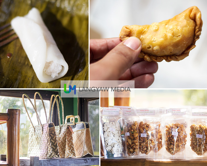Other products that can be found in the House of Suman includes, clockwise from top right: empanada, peanut products, woven bags and another kakanin