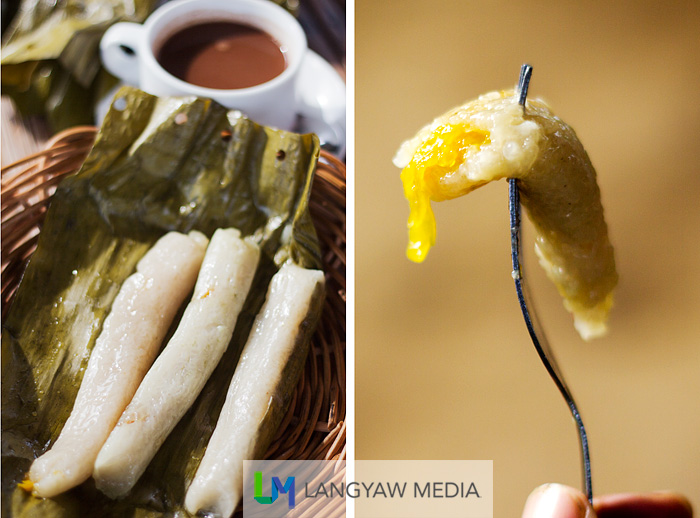 Left, cheese suman with paired with a cup of hot chocolate; right, suman with jackfruit filling