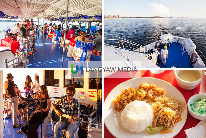 Clockwise from top right: Aboard a Sun Cruises boat for the Manila Bay Cruise, early dinner served on board complete with a drink and a dessert, on board live entertainment and cruise goers at the open air second level