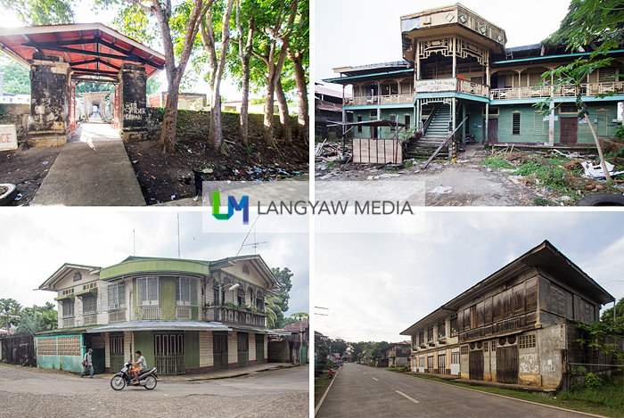 Heritage structures in Jimenez, clockwise from top left: The abandoned art deco PURVIL High School, a heritage house along the highway, another heritage house found behind the church compound and one of the very few, if not the only Spanish colonial era cemetery fence in Mindanao and built by Fray Roque Azcuna