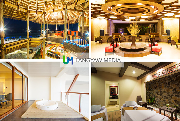 The different areas of Bellevue Resort Panglao, clockwise from top right: main lobby with its contemporary interior design using Philippine native materials; Azurea spa; jacuzzi at the Presidential Suite overlooking the beach and pool, and the huge hut where Cena and Marea restaurants are located