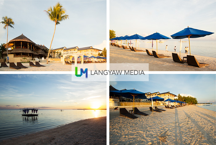 Different views of the beach area at different times of the day: early morning and late afternoon