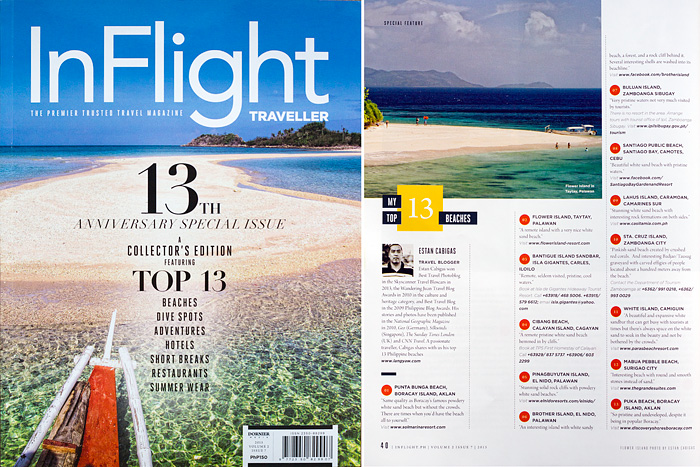 Inflight Traveller magazine's 13th Anniversary special issue with my photo of Bantigue Island as cover and my top 13 beaches in the country feature