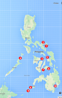 Mapped beaches across the Philippines