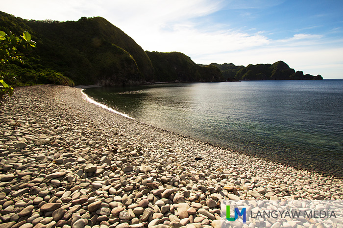 Lantangan Beach is all smooth round stones