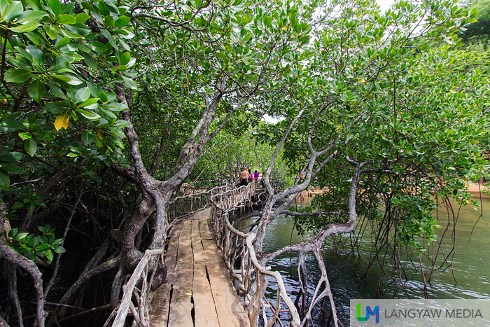 The wooden bamboo bridge leading to the hot saltwater spring