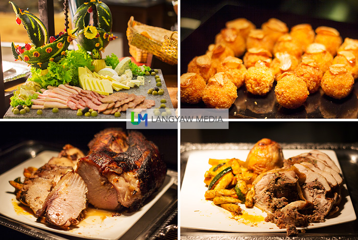 A variety of dishes from croquetas, stuffed chicken, ham and a cheese and cold cuts selection