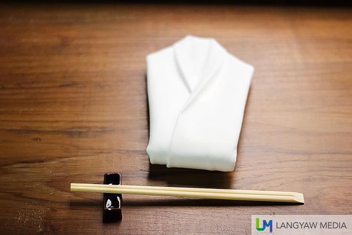 Zen simplicity: chopsticks and folded napkin