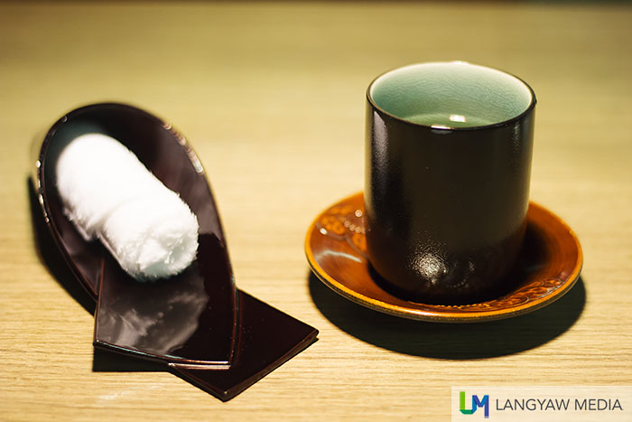 Green tea and the ubiquitous wet towelette that is always present in Japan restaurants