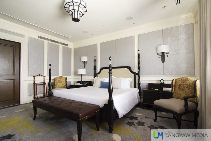 The rather simple masters bedroom of the McArthur's Suite