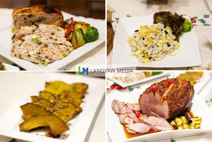 Clockwise from top right: Chicken macaroni, honey glazed ham, sliced pumpkins and chicken relleno