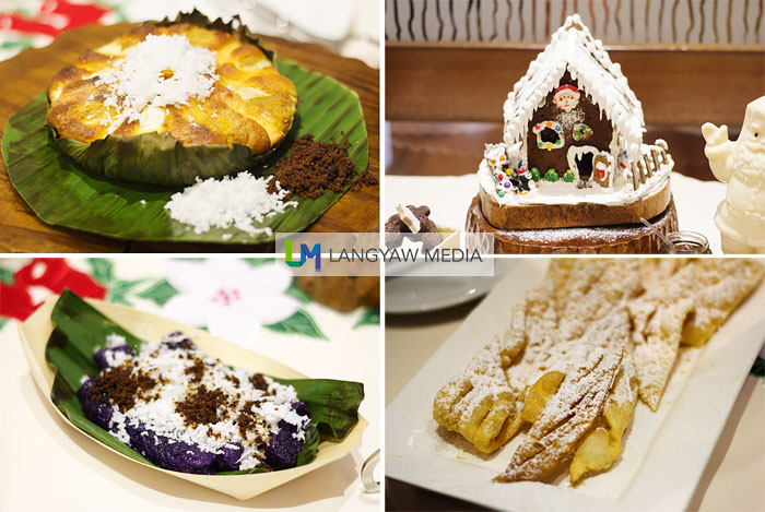 The different desserts both native and non native, clockwise from top right: gingerbread house, cenci cookies, traditional puto bumbong and delicious bibingka with slices of salted eggs
