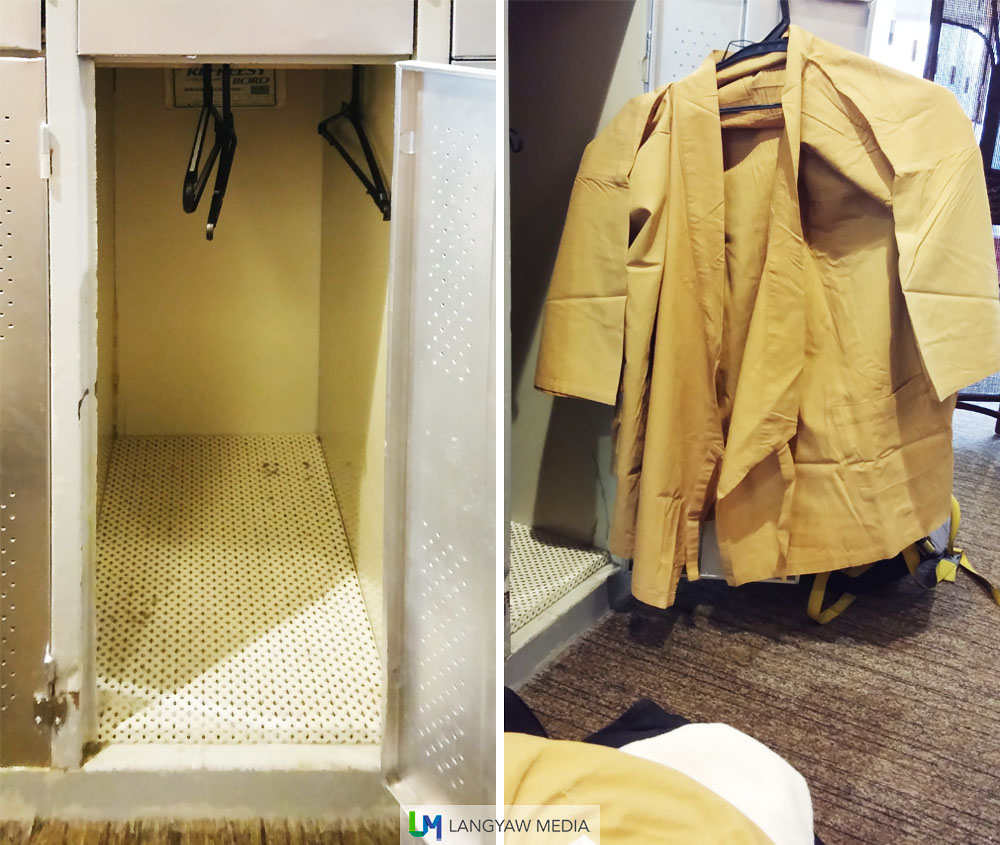 The rather small locker space and robes that one has to wear while in the capsule hotel