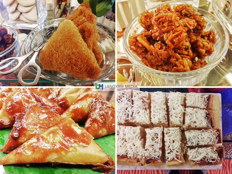 Desserts, clockwise from top right: bukhayo, cassava cake topped with grated cheese, sweet potato triangles and tagaktak