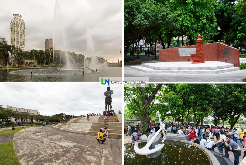 Clockwise from top right: The Heidelberg Fountain that Jose Rizal used to drink water from in Germany at the Noli Me Tangere Garden; at the fringe of Rizal Park along TM Kalaw where these men looking for maritime work gather; the massive Lapulapu bust and the popular dancing fountain