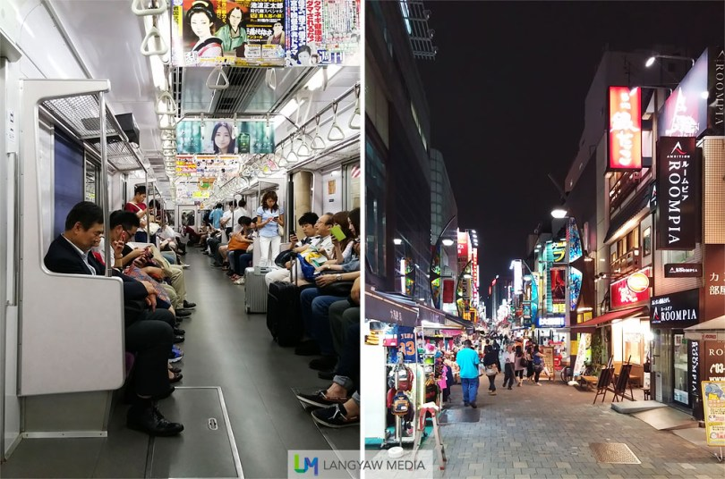 Taking the Tokyo subway, left and the busy street just outside the capsule hotel I'm staying and near the Ueno train station, right.