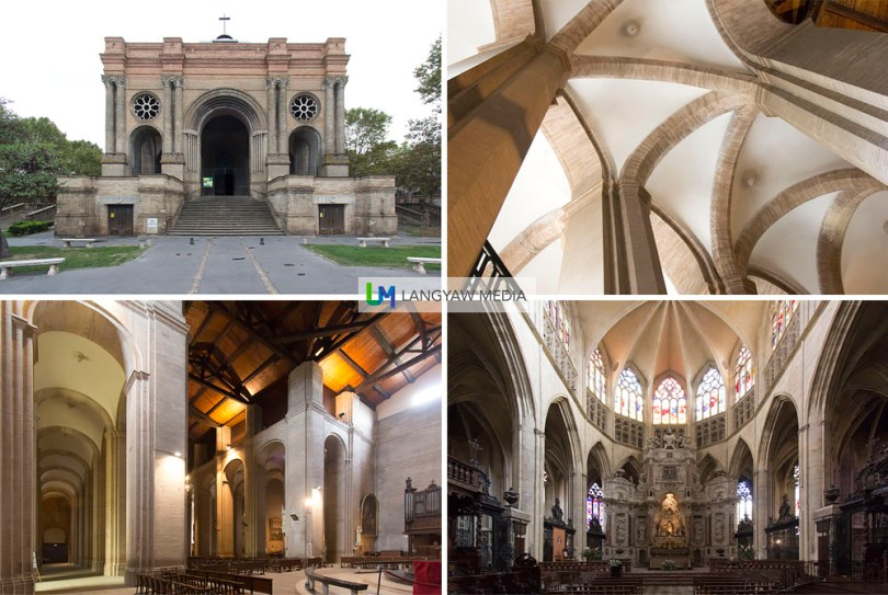 exterior and interior of the Eglise de St. Aubin built in 1847