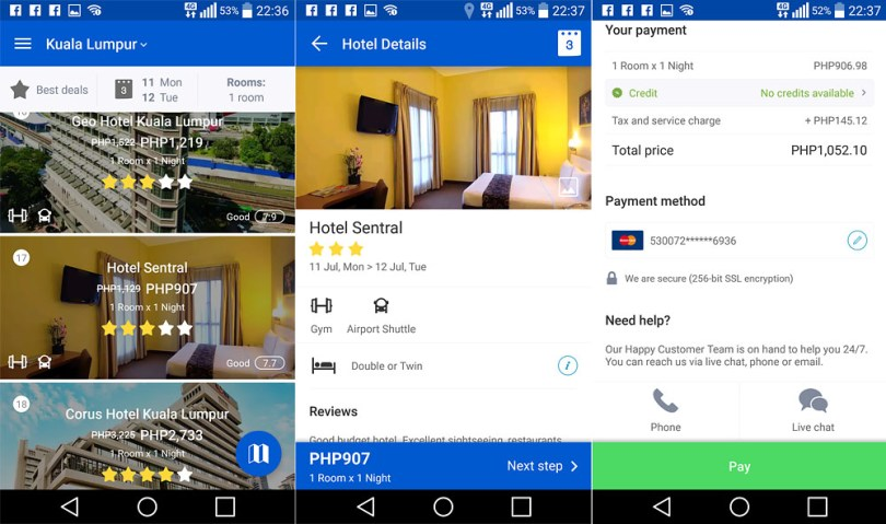 When searching for a hotel among a list, then hotel details and breakdown of costs. If you have credits available, you can use it for discounts