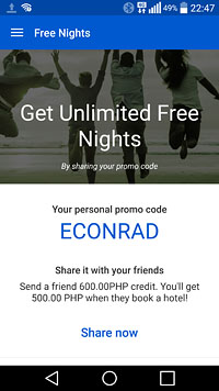 Sign up with my ECONRAD code and get credits that you can use in your bookings for discounts!
