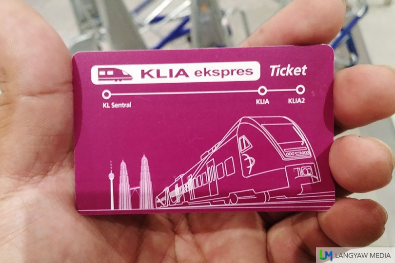 The KLIA Ekspres card that you use for entry and exit