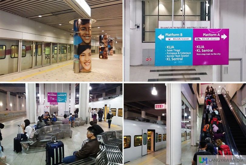 Clockwise, top right: Take note of the platform at KLIA2 when boarding the KLIA Ekspres, Platform A is for the right one; the dropoff platform at KLIA2; open air waiting area at KLIA2 and trains at the platform in KL Sentral