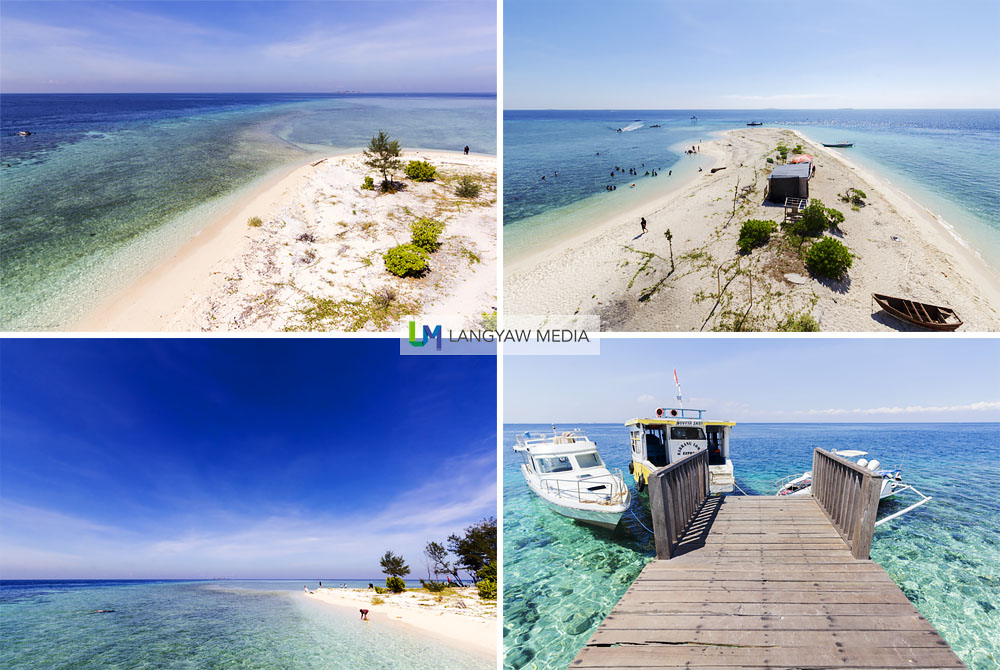 Different views of Pulau Kodingareng Keke as seen from the 3 level structure and at the jetty