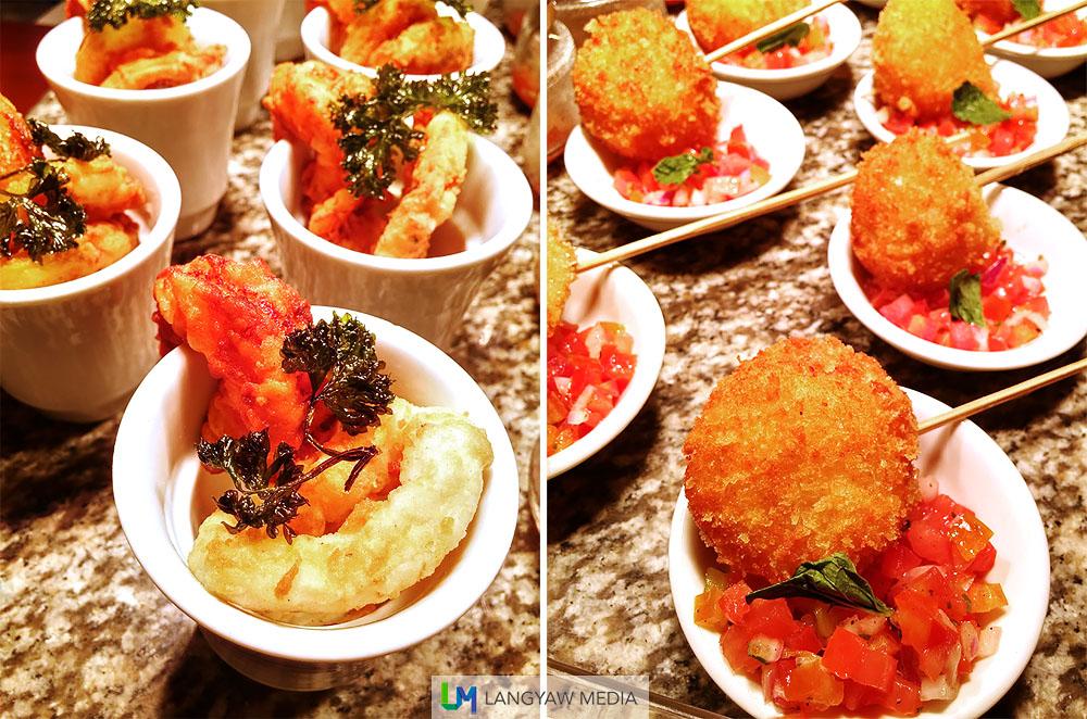Frito misto with lemon aioli, left; sea scallops lollipop with italian salad, right