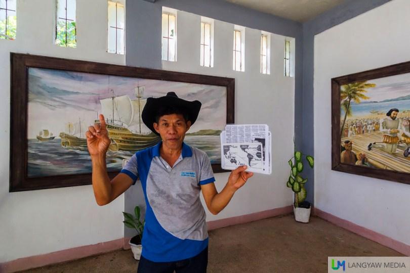 The popular tour guide at the Limasawa Magellan Shrine, Sam Espinosa Galvez