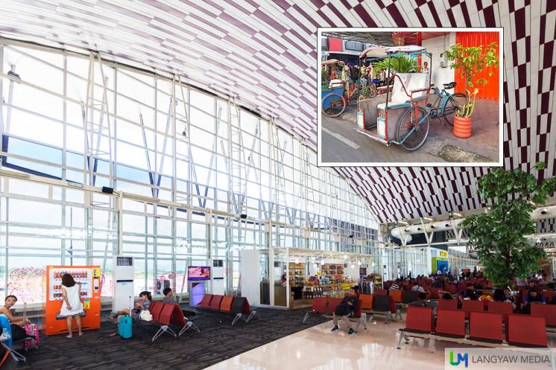 The beautiful terminal of Hasanuddin Airport. Inset, local pedicab called becak