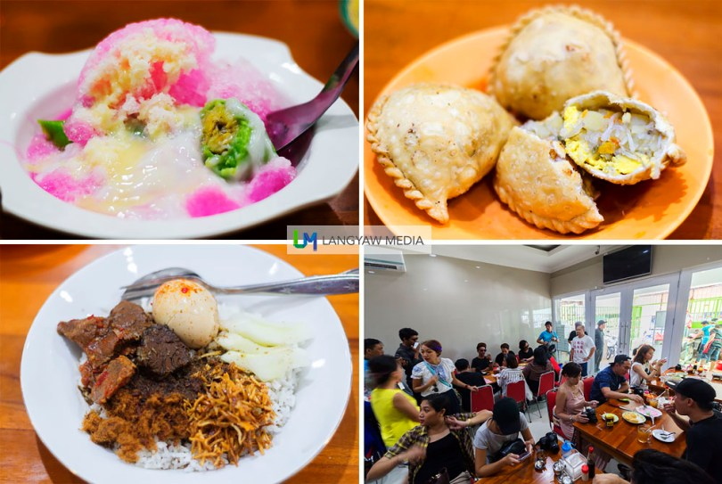 Clockwise from top left: Popular food at Rumah Makan Muda Mudi includes the colorful Es pisang ijo, jalangkote, nasi champur. Lower right, our group adding to the already crowded restaurant