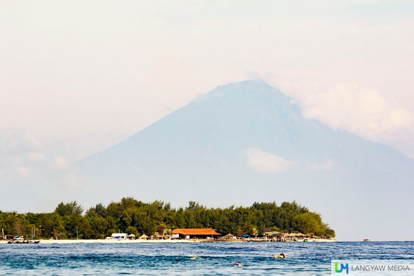 View of Gili Trawangan with Gunung Agung, the highest volcanic mountain in Bali, in the background