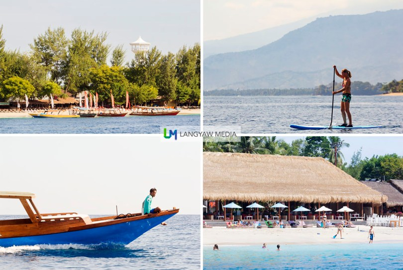 Clockwise from top right: paddleboarding in Gili Air, Scallywags Beach Resort in Gili Air, Fast boat plying the waters from Gili Trawangan; View of Gili Trawangan from our glass bottomed boat