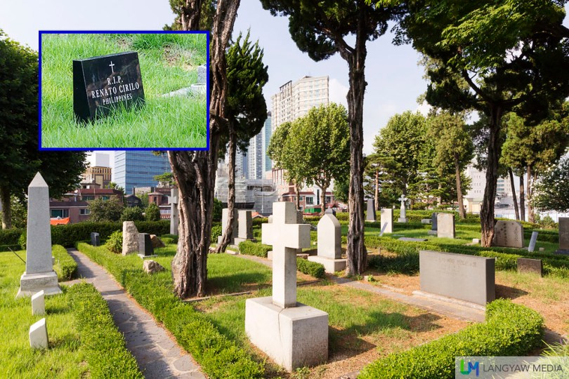 The Yanghwajin Foreign Missionary Cemetery is just adjacent the Jeoldu-san Martyr's Shrine. Inset, a Filipino who is interred in this ground.