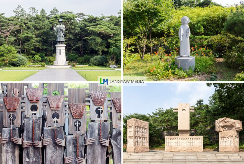 The serene grounds of Jeoldu-san is a place of contemplation. Clockwise from top right: Catholic icon at the expansive garden; Byeonin Persecution of 1866 memorial erected on the 100th anniversary; detail of fence going to the museum, and sculpture of Saint Kim Taegon Andrea, patron of South Korea and first Korean Catholic priest