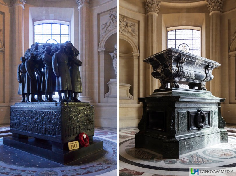 Left, tomb of Ferdinand Foch, Marshal of France, Allied Supreme Commander in the First World War; right, tomb of Joseph Bonaparte, Napoleon's elder brother and King of Naples and Sicily, then King of Spain