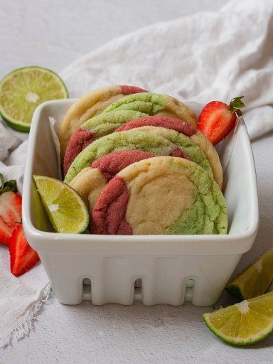 strawberry lime cookies in a berry colander