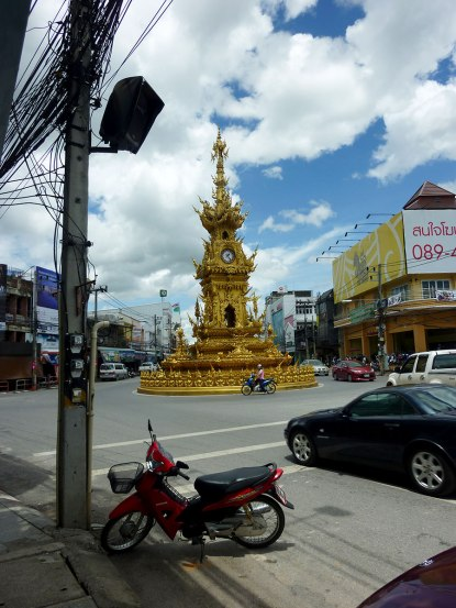 Welcome to Chiang Rai. The famous clock tower in the center of town.