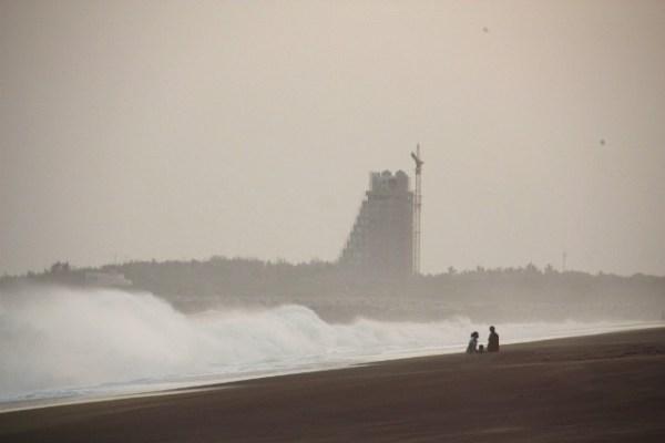 Hambantota harbour at dusk