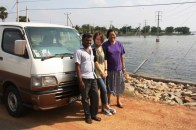 Katherine, Ruvanthi, Jay and the van as we cross Elephant Pass for the last time