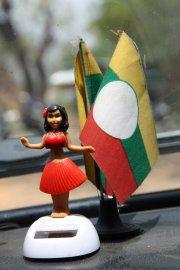 Shan flag and dancing Shan girl, Taunggyi
