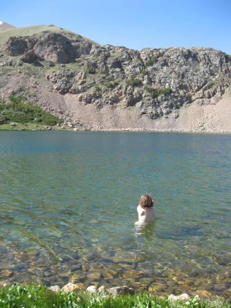 Cold swim in Hart Lake, July 2012