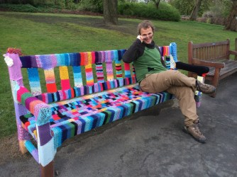 Knitted bench cover....cuz it's chilly in Glasgow