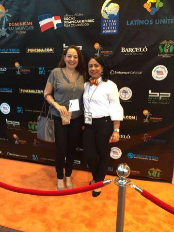 Yaniris Felipe, Jefe de Relaciones Publicas de la Oficina de Turismo Dominicana y la periodista Maria Eugenia Ginez