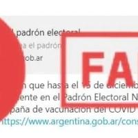 FakeNews: el padrón electoral no será utilizado como listado para vacunación contra el Covid-19
