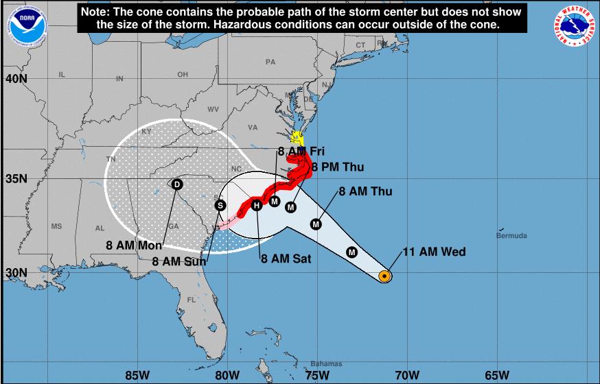 La trayectoria del huracán Florence a las 11am el miércoles 12 de septiembre.