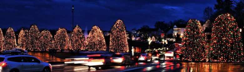 Panorama de McAdenville, NC durante Christmas Town USA