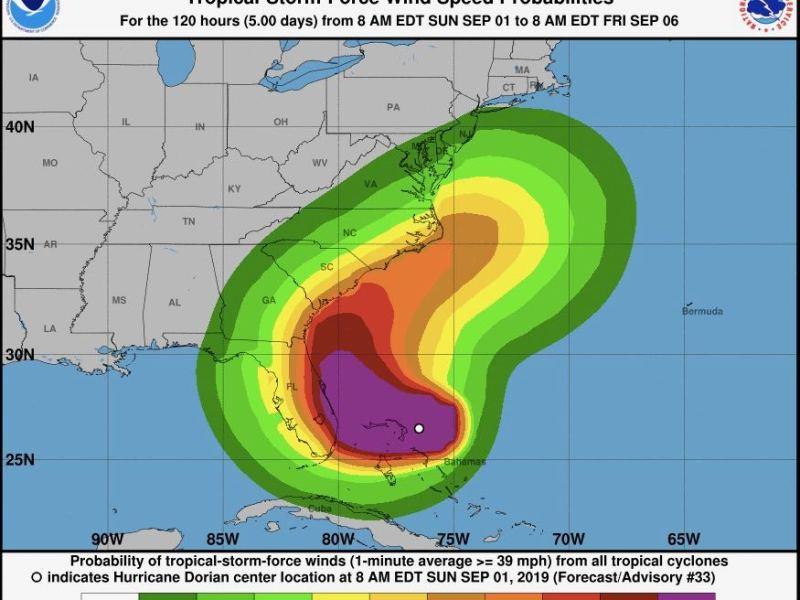 Huracán Dorian sube a categoría 5 y llegaría a Carolinas del Norte este miércoles
