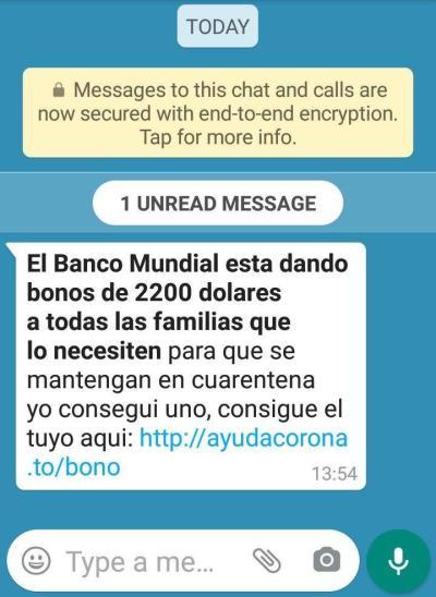 Mensaje enviado por Whatsaap con propósitos de hacer fraudes como el phishing