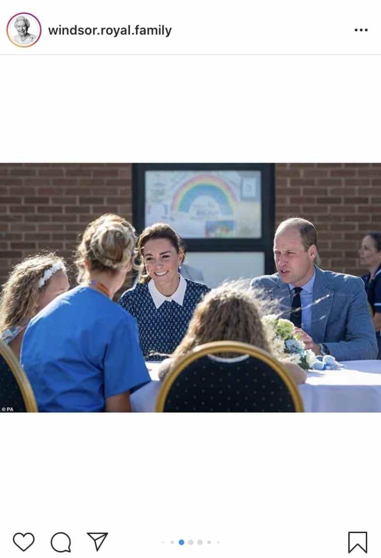 Kate y William toman el té con profesionales de la salud